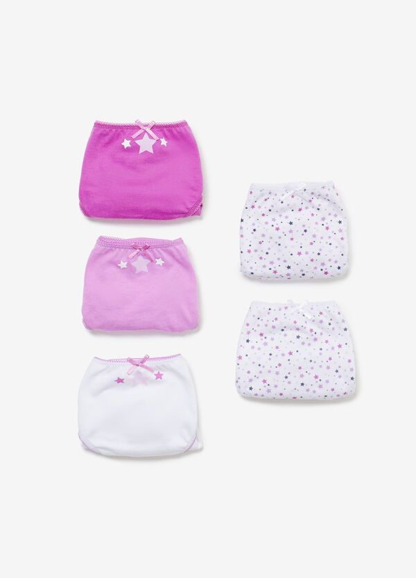 Five-pack cotton briefs stars and solid colour