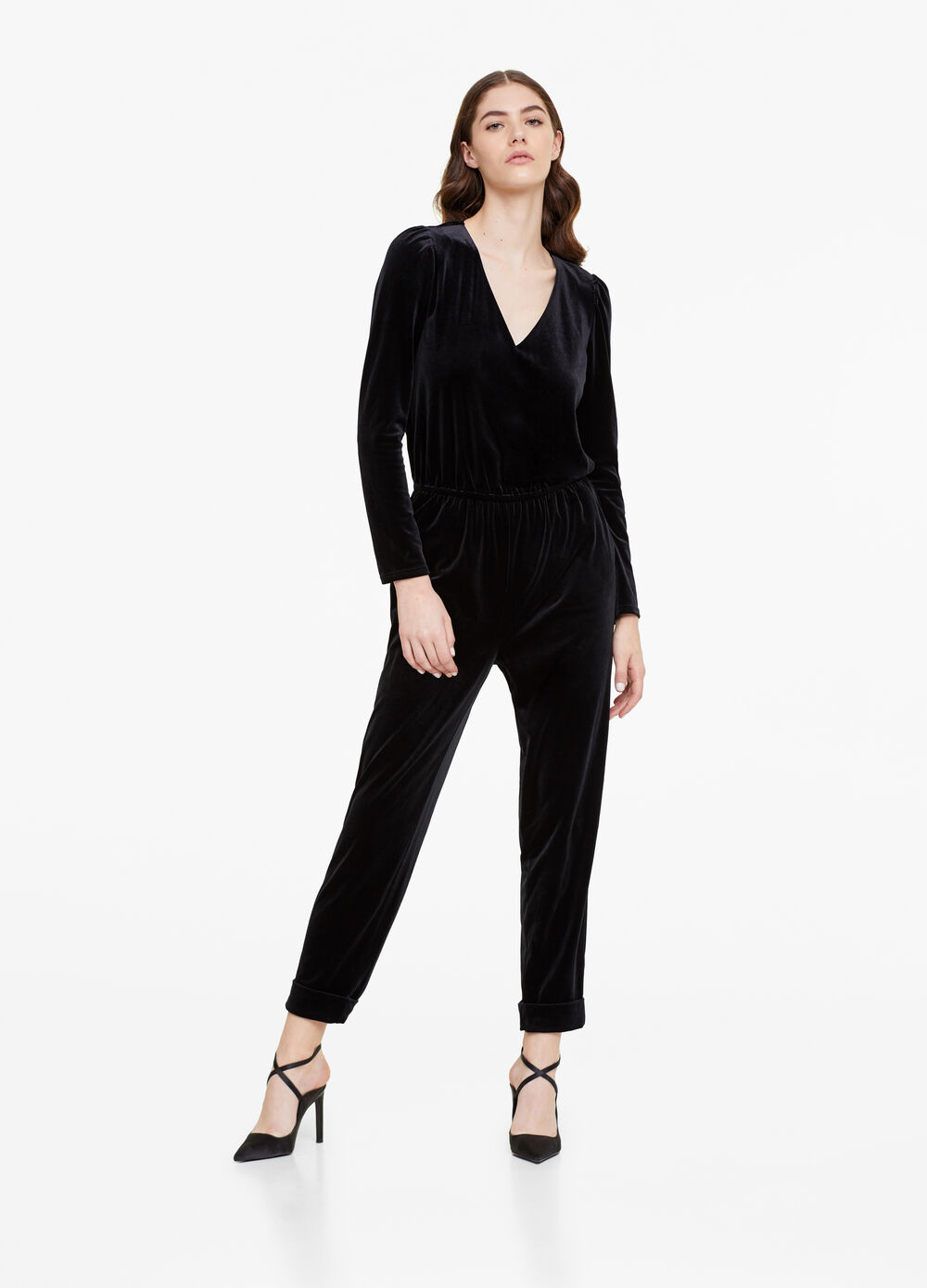V-neck playsuit in velvet