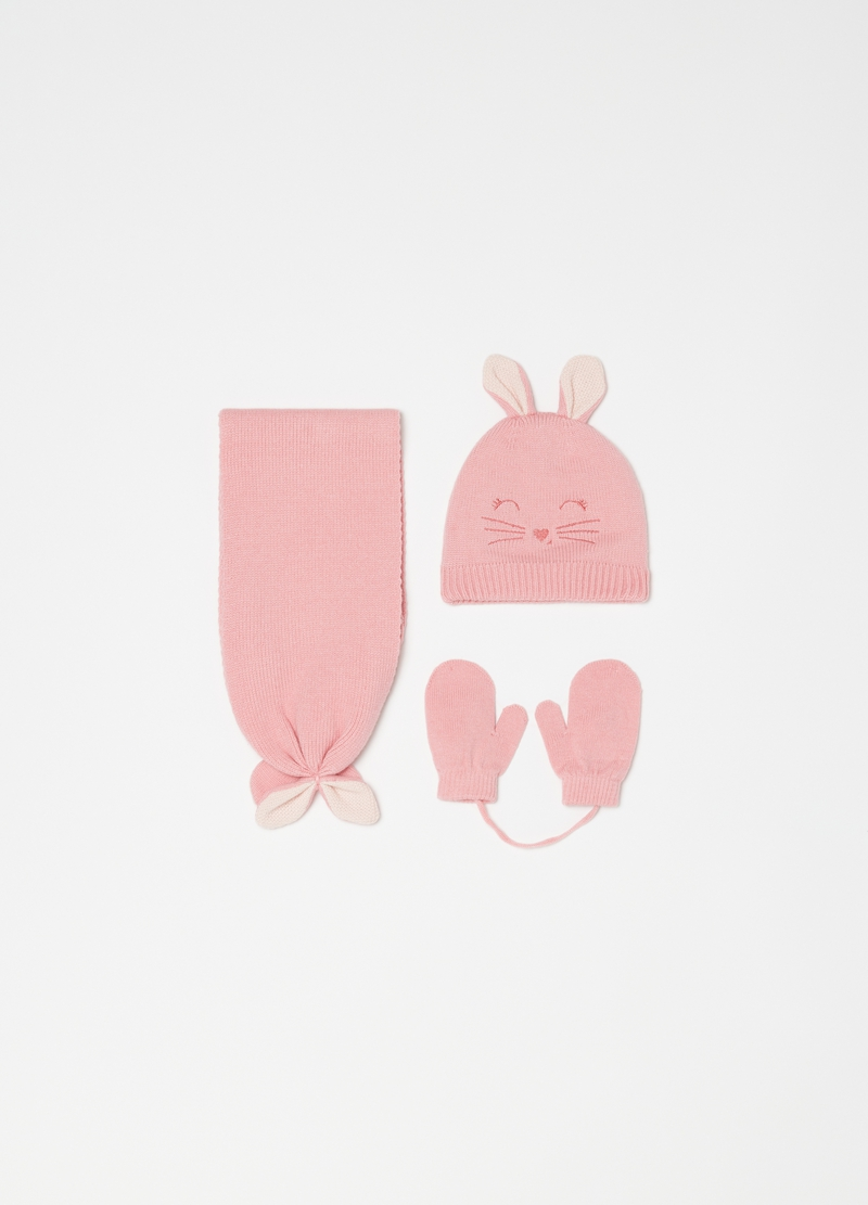 Rabbit set with hat with ears and scarf image number null