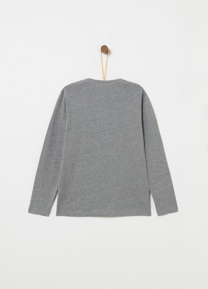 Mélange T-shirt with long printed sleeves