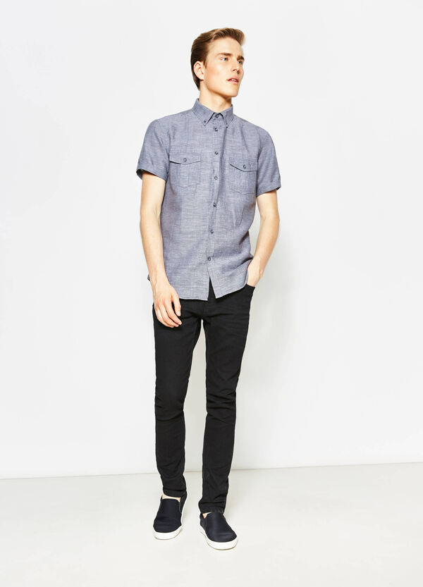 Regular-fit casual shirt with button down collar | OVS