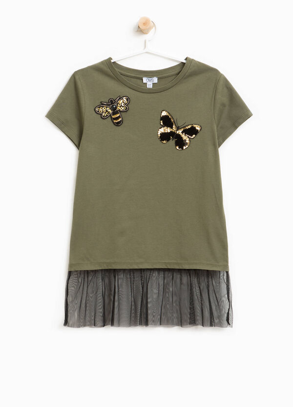 Cotton T-shirt with tulle and butterfly patch