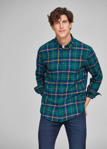 Check shirt with button-down collar