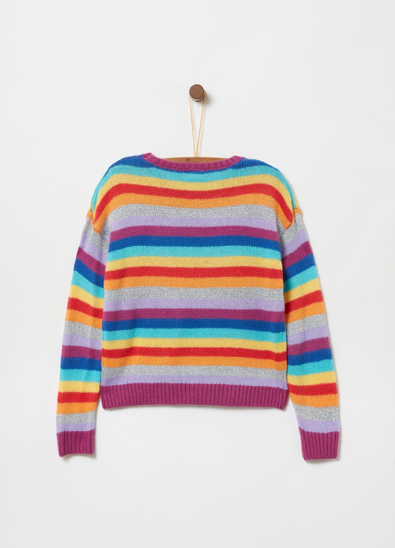 Crazy stripes pullover with lurex image number null
