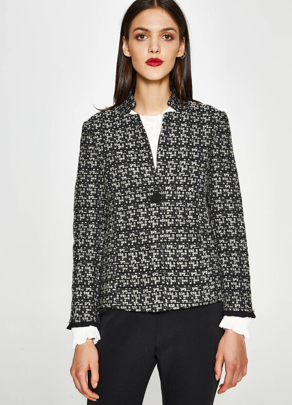 Single-button blazer with knitted design | OVS