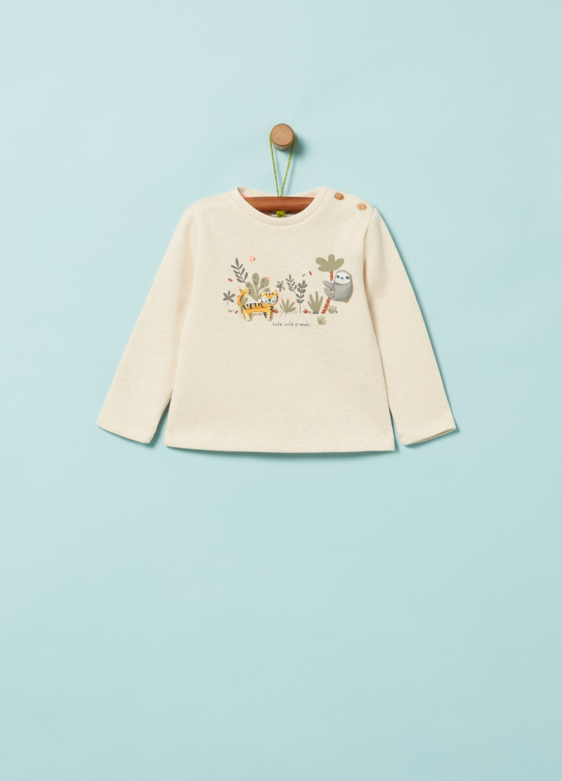 Organic cotton sweatshirt with animal patches image number null