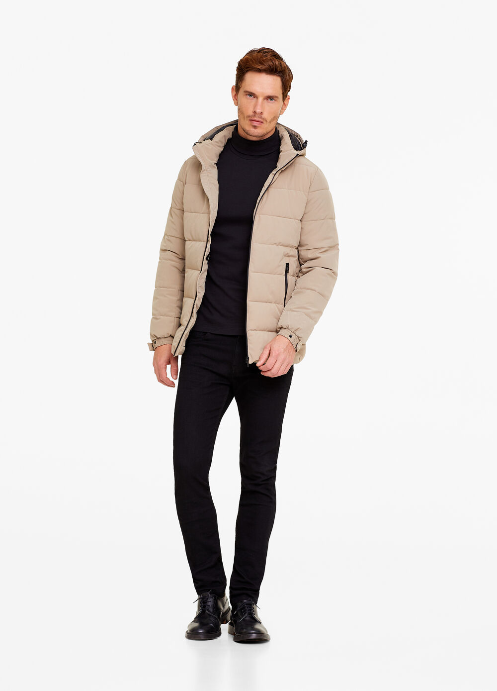 Stretch down jacket with hood