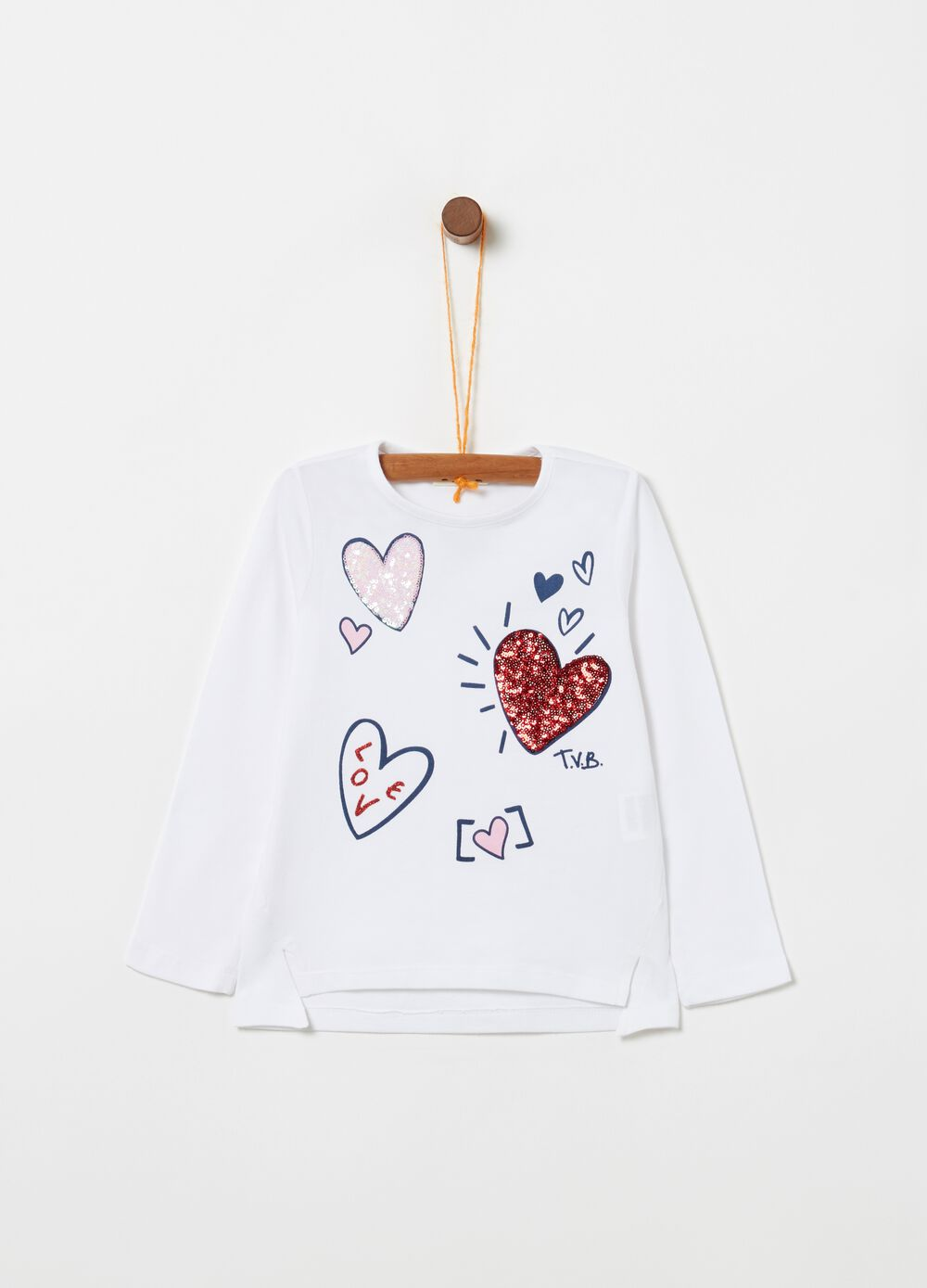 Stretch biocotton T-shirt with hearts print