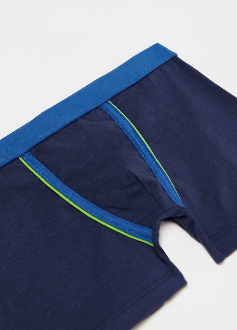 Solid colour stretch cotton boxer shorts image number null