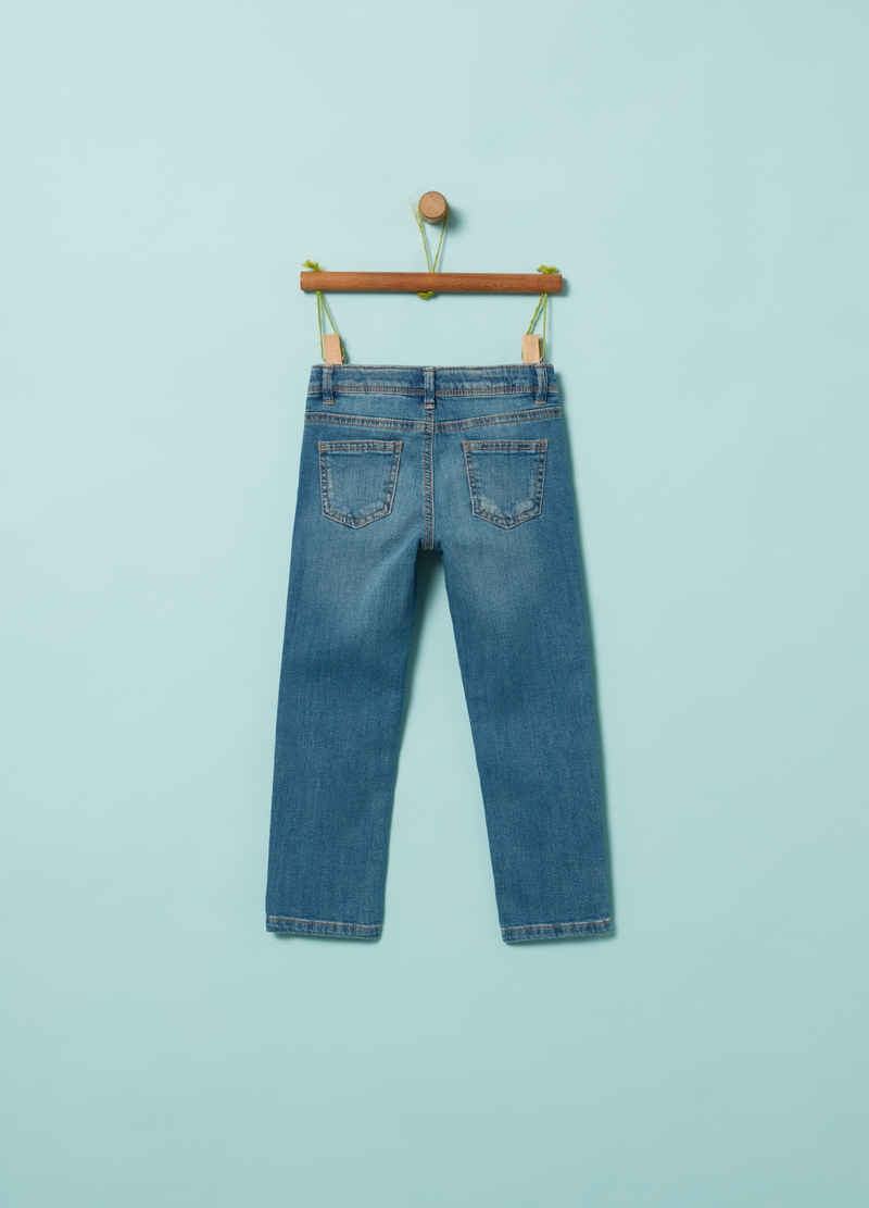 Jeans stretch con ricamo image number null