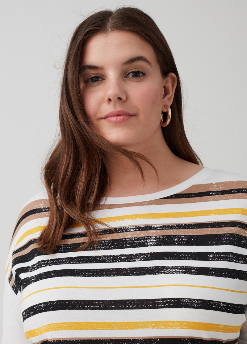 T-shirt puro cotone a righe Curvy image number null