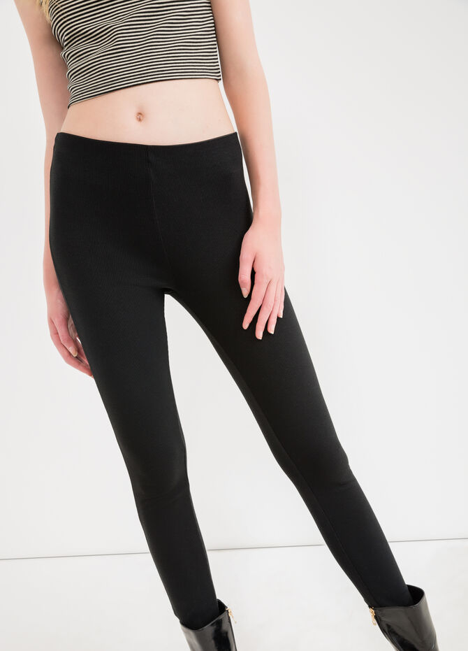 Solid colour stretch ribbed leggings