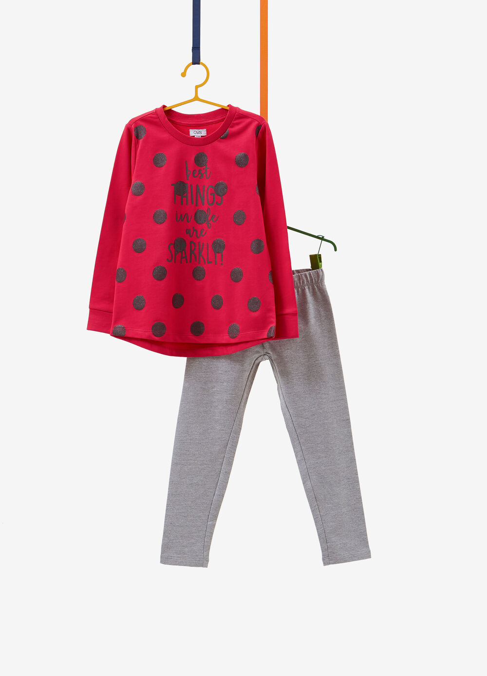Tracksuit in 100% cotton with glitter polka dot print