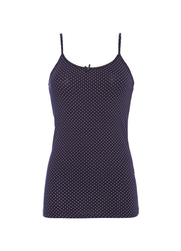 Stretch cotton polka dot print top | OVS