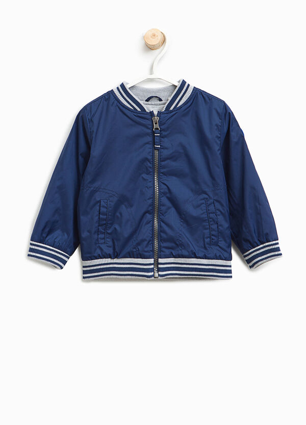 Bomber jacket with striped ribbing | OVS