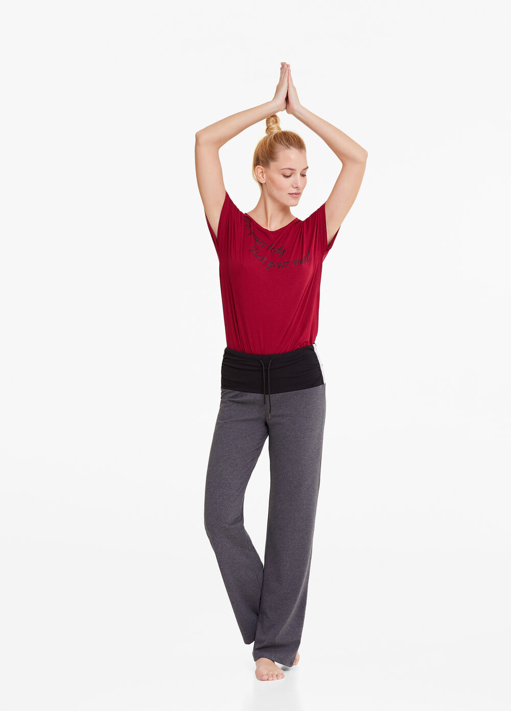 Gym trousers with contrasting waist