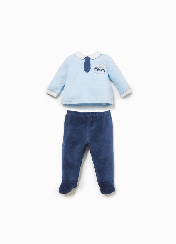 T-shirt and baby leggings set with tie