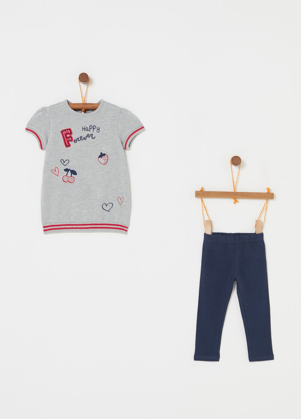Jogging set con stampa lettering