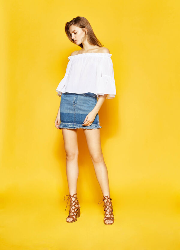 Fringed denim skirt | OVS