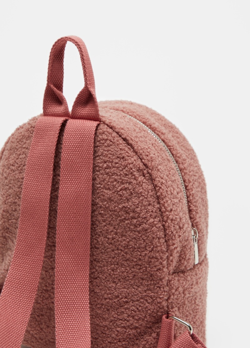 Bouclé-effect backpack with zip image number null