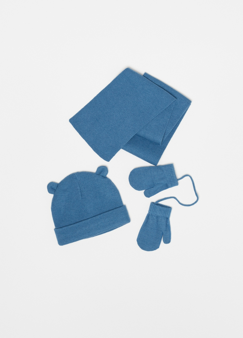 Set consisting of solid colour hat, scarf and mittens image number null
