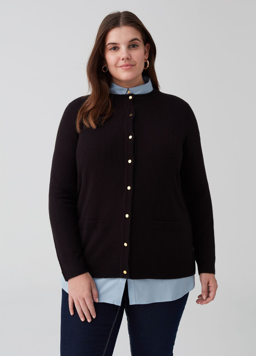 Curvy knit cardigan with pockets