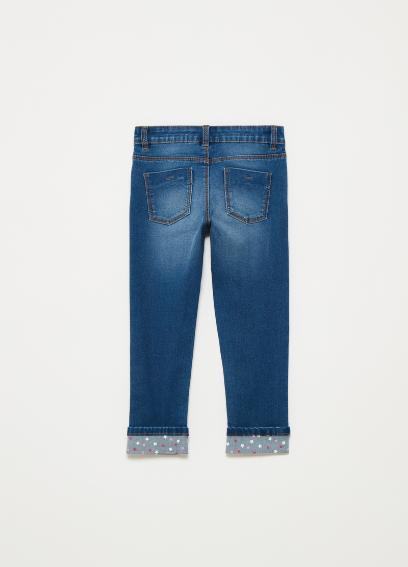 Jeans stretch con stampa stelline image number null