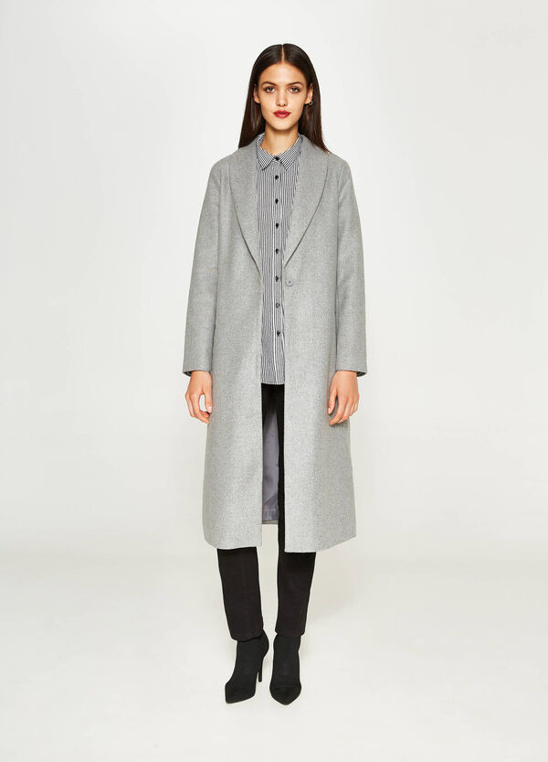 Long mélange coat with single button fastening. | OVS