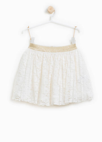Lace skirt with glitter waistband