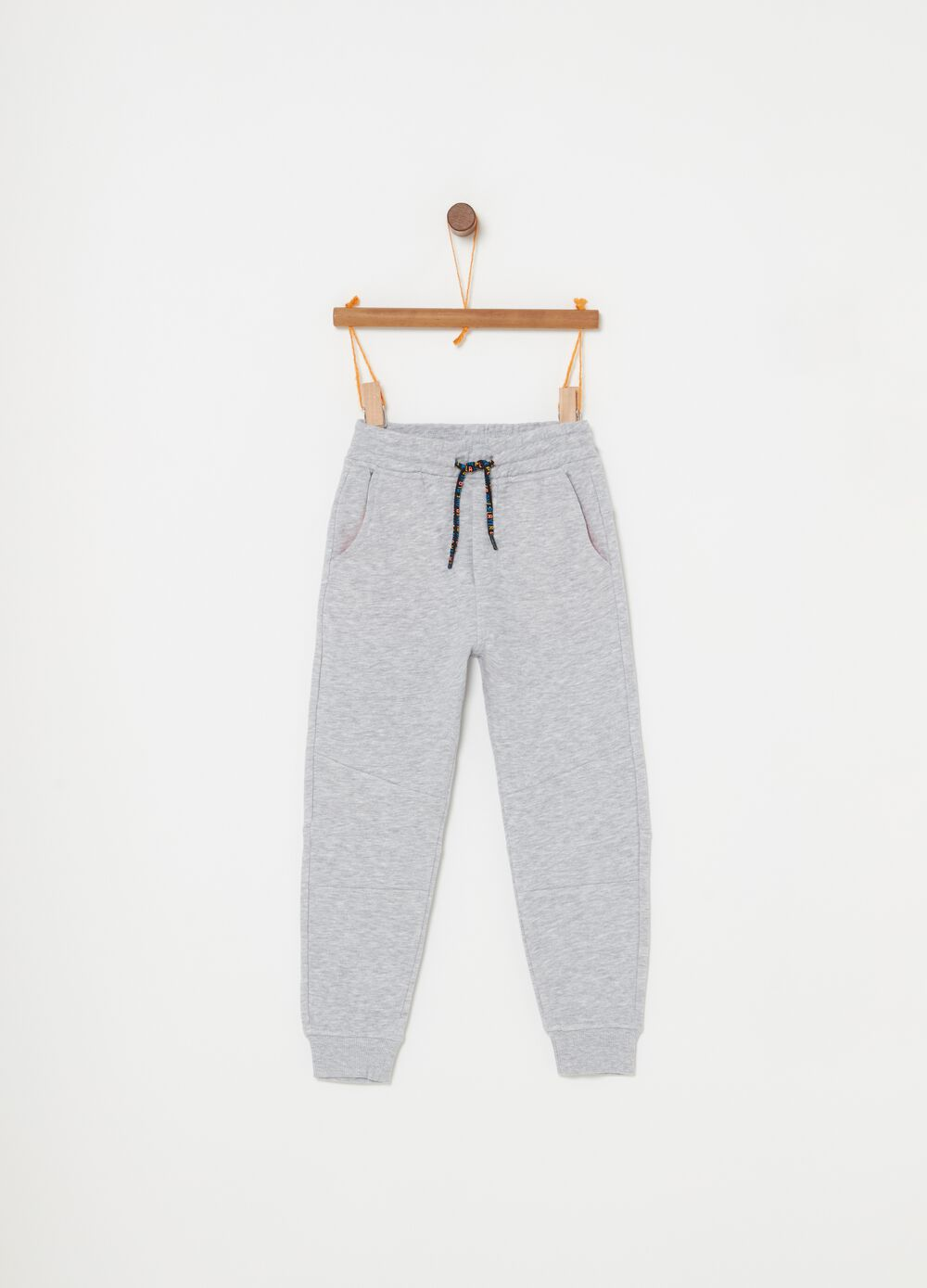 Pantaloni French Terry mélange con coulisse