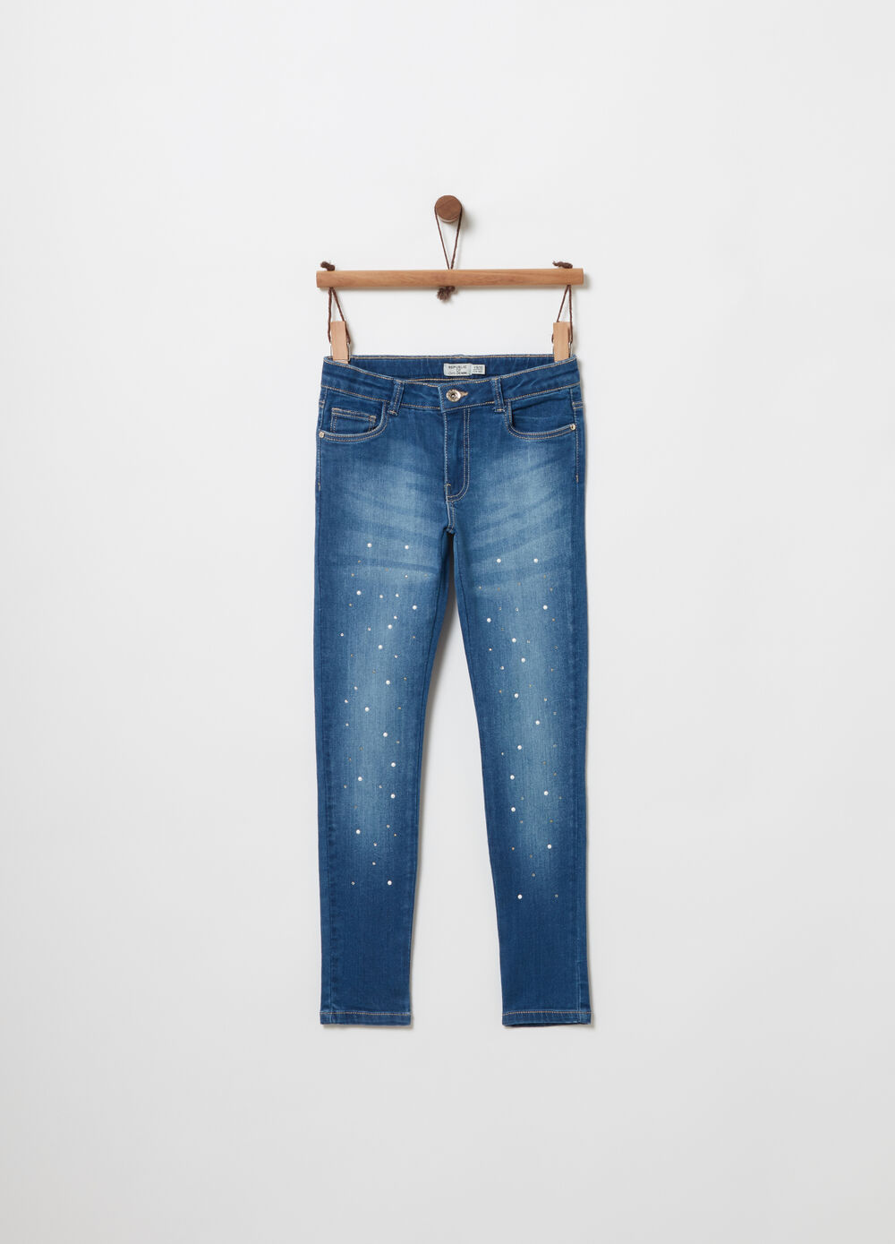 Skinny-fit jeans with mother-of-pearl and diamantés