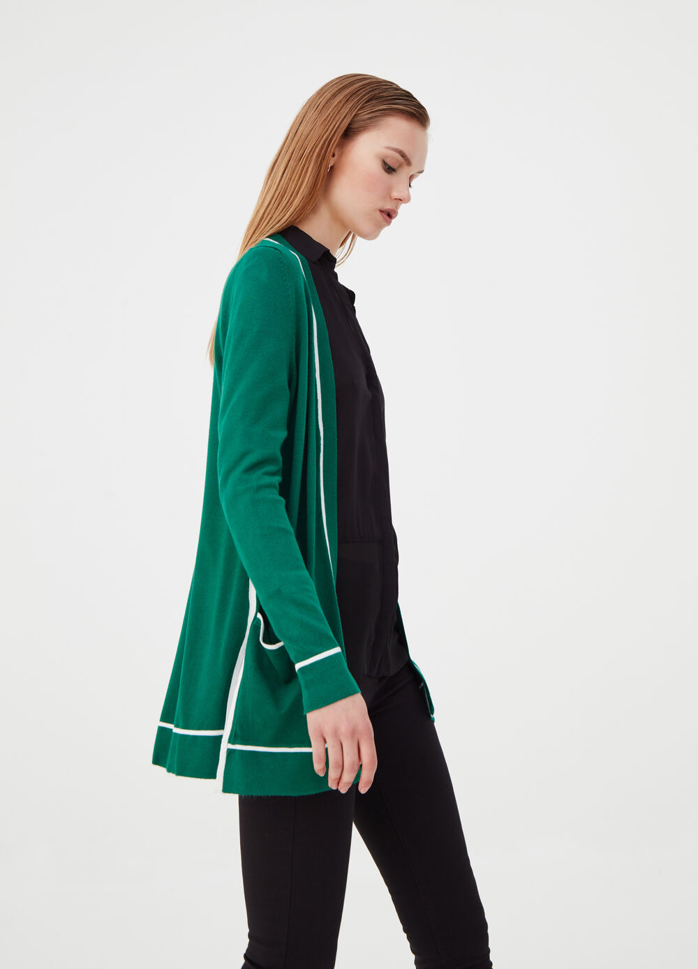 Long cardigan with contrasting trim