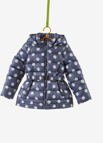 Quilted coat with all-over polka dot print