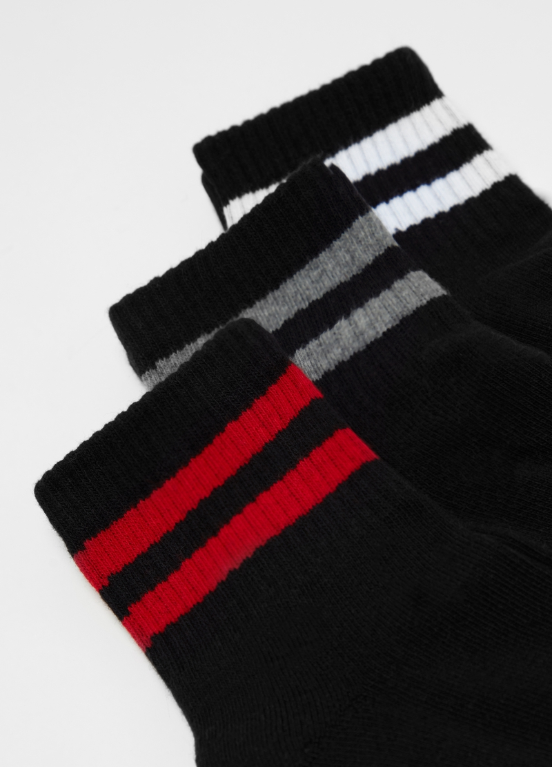Three-pack short socks with striped trim image number null