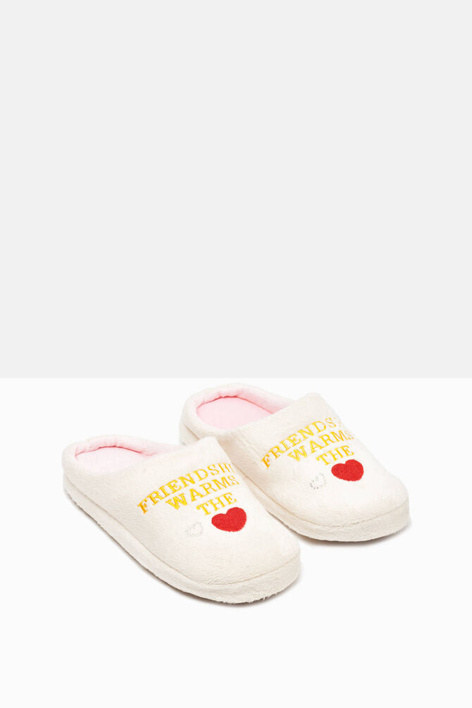 Diamanté and embroidered lettering slippers