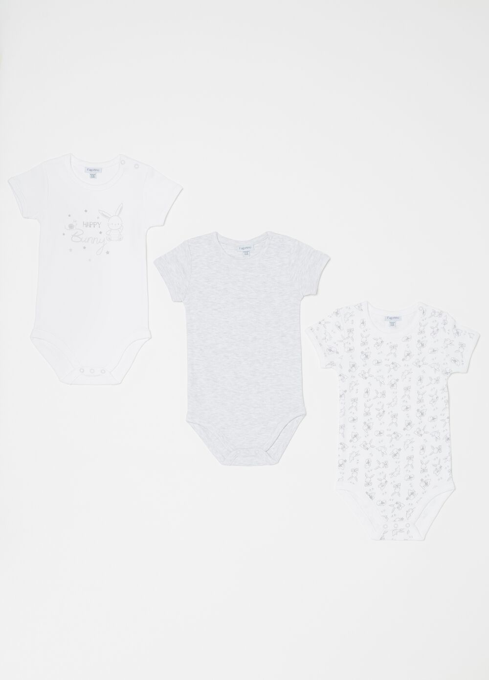 Set tre body biocotton mélange coniglietti