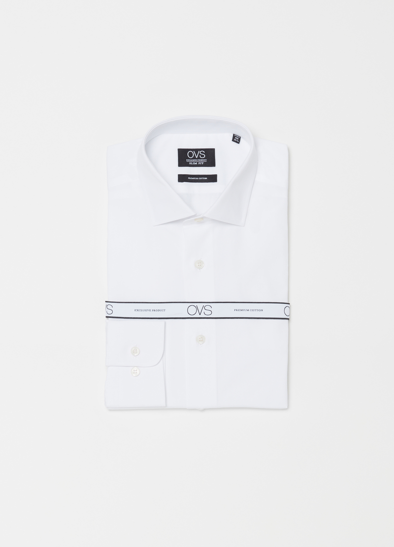 Compact-weave slim-fit cotton shirt image number null