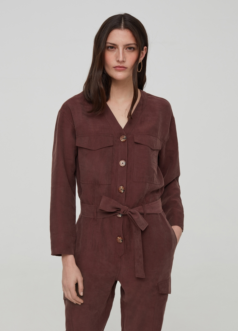 Lyocell playsuit with belt image number null