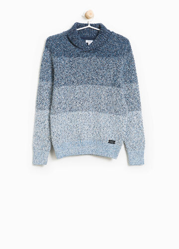 Striped knitted cotton pullover