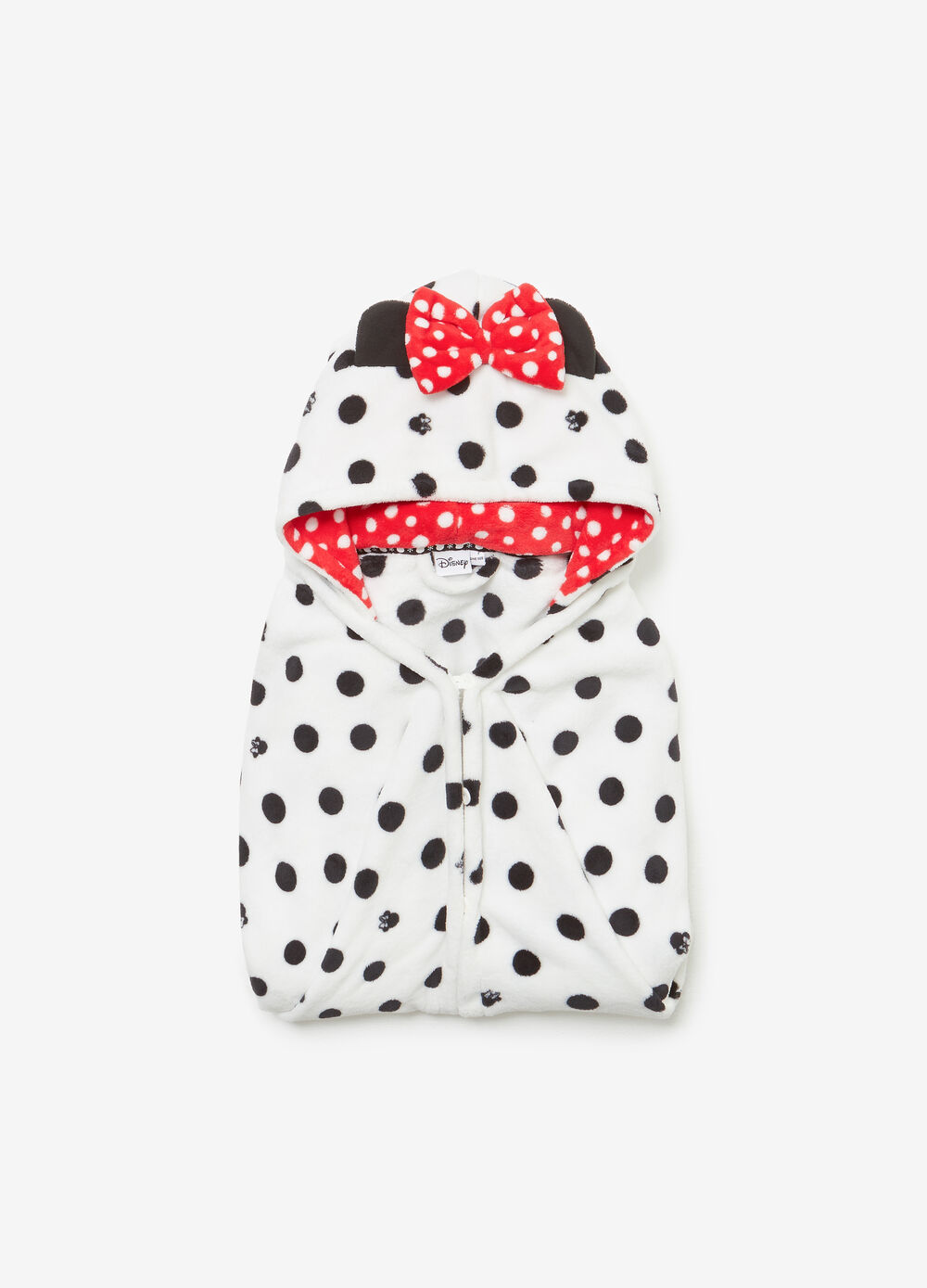 Dressing gown with bow and Minnie Mouse and polka dot pattern
