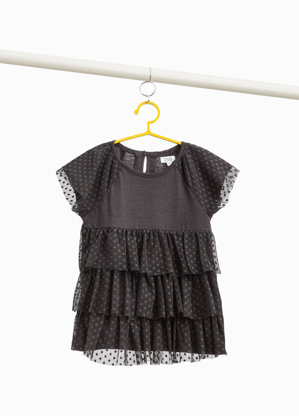 T-shirt con balze in tulle puntinato
