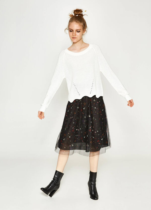Gonna longuette in tulle floreale | OVS