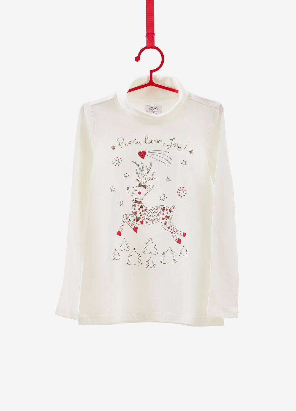 Stretch cotton turtleneck jumper with glitter Christmas print
