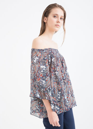 Printed blouse with boat neck