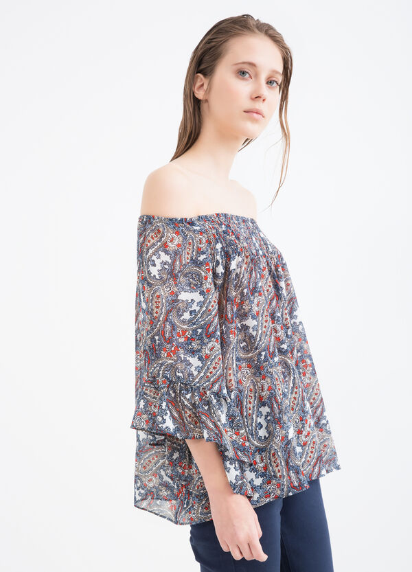 Printed blouse with boat neck | OVS