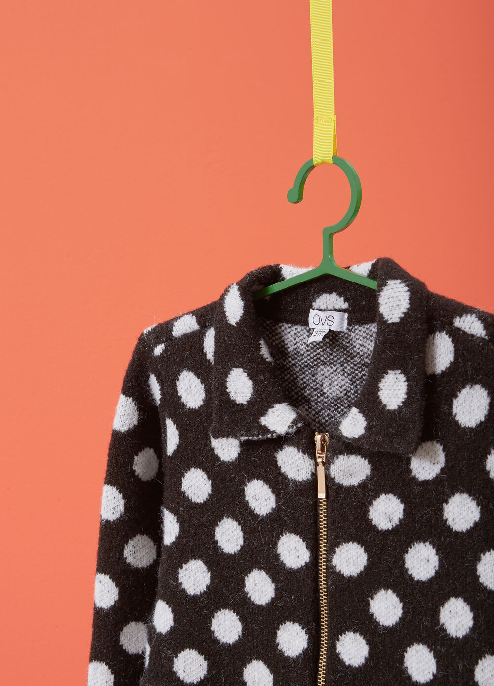 Cardigan stretch a pois con zip