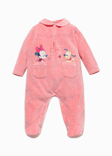 Baby Minnie Mouse onesie with rounded collar