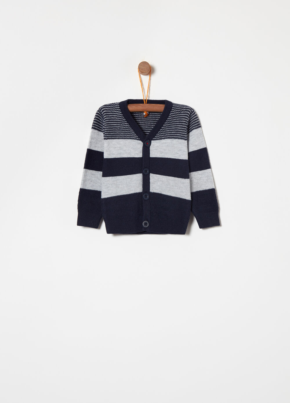 Cotton and wool blend cardigan with stripes