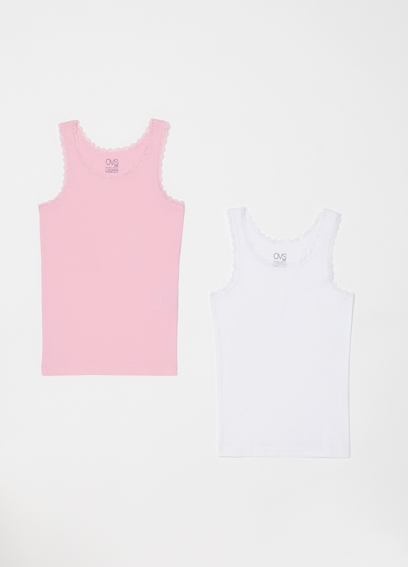 Set of two ribbed biocotton vests image number null