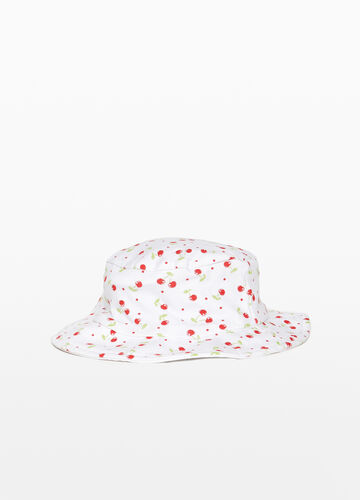 Wide-brimmed hat with cherry pattern